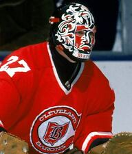 GILLES MELOCHE VINTAGE HOCKEY GOALIE MASK CLEVELAND BARONS 8X10 NHL PHOTO
