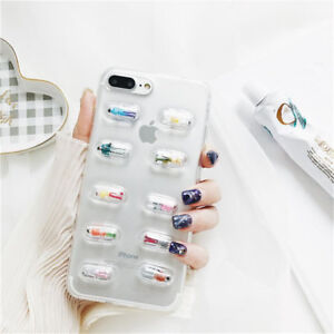 competitive price 533b4 93e9a Details about For iPhone XS MAX XR XS X 6 7 8 plus Transparent 3D Pill  Capsule Soft Phone Case
