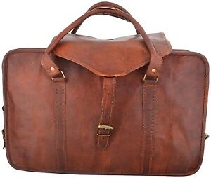 Real-goat-leather-handmade-travel-luggage-vintage-holiday-soft-strong-duffel-bag