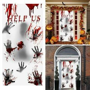 Halloween Pvc Turvorhang Horror Zimmer Haus Party Deko Help Us 30 X 60 Inches Ebay