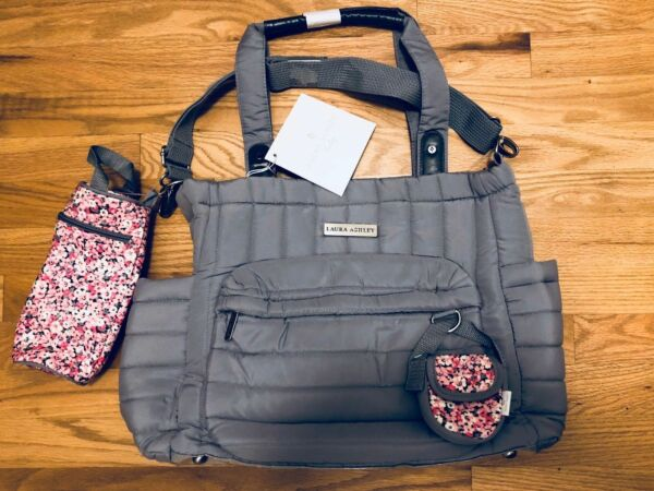 a2bbe5676bb Laura Ashley Solid Gray Quilted 5 1 Diaper Bag   eBay