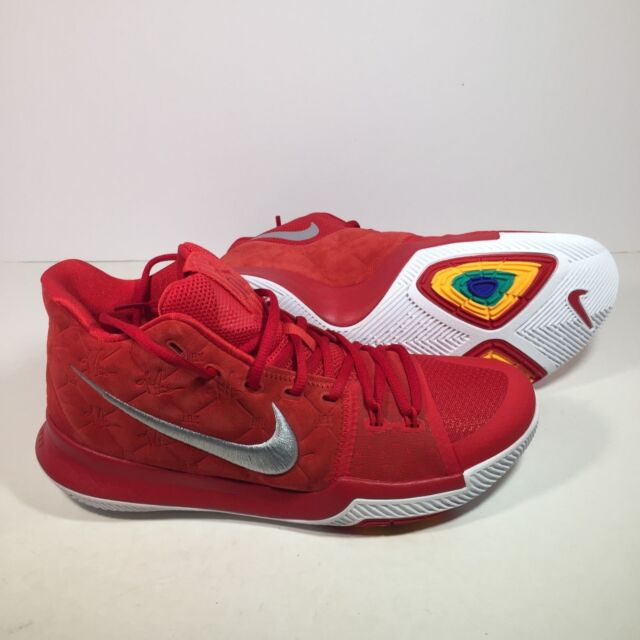 official photos 64e3d 55ec1 Nike Kyrie 3 852395-601 University Red Suede White Basketball Shoes