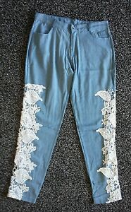 Gorgeous-ladies-approx-size-12-blue-trousers-with-lace-sides-Bnwot-NEW
