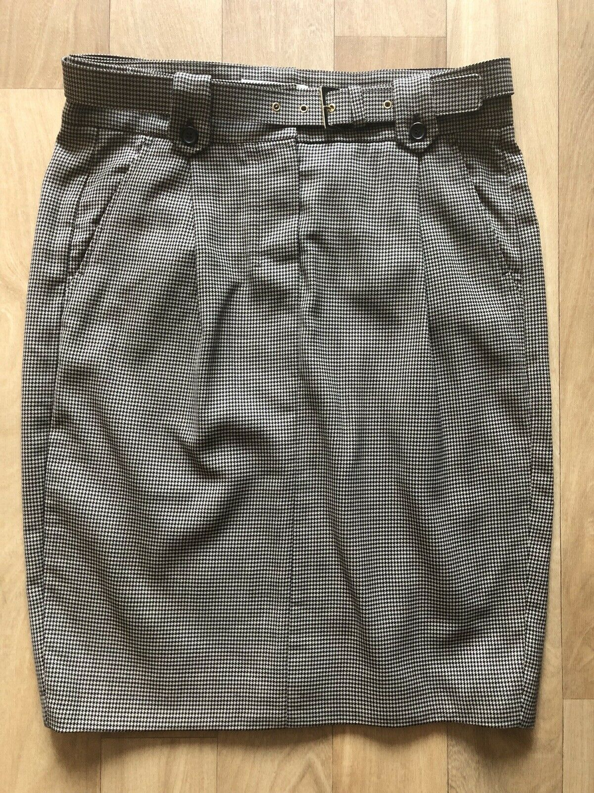 MAX MARA Max Mara Houndstooth Wool kjol Sz IT 40 US 6 EUC