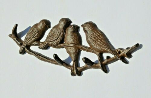 Home Wall Decor. Four Birds on a Branch with Branch Hook Limbs Brown Cast Iron