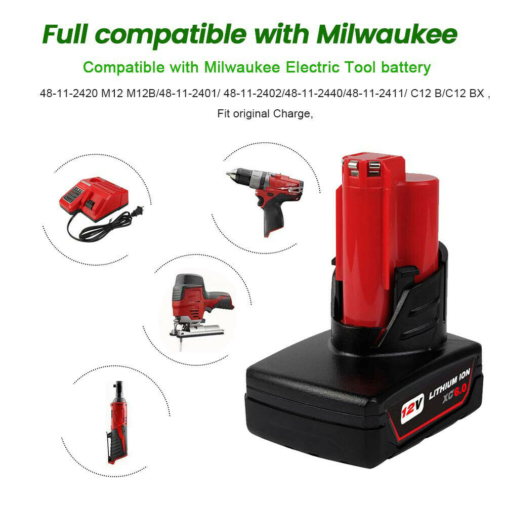 2X Für Milwaukee M12 B6 Akku 12V XC 4.0 Li-ion 48-11-2440 M12B4 M12B2 48-11-2440