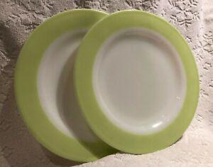 Vintage CDN PYREX '50; Dinnerware 2 Opal-White Lime-Green-Rimmed Dinner Plates