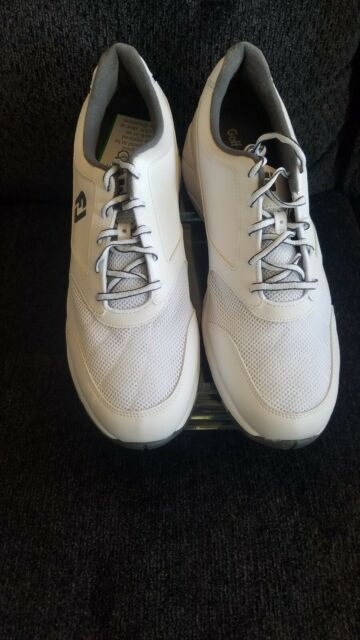 ad4f0e7073f600 FootJoy Mens Athletics Spikeless White Mesh Lace up Golf Shoes Size ...