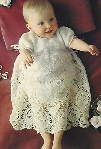 bb00b72979d7 Image is loading Baby-Vintage-Christening-Gown-Heirloom-2ply-Crochet-Pattern -