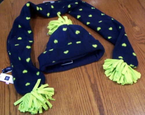 NWT GAP KIDS Navy Blue /& Lime Green Heart Fleece SCARF or HAT or SET Girl S M