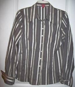 New Brand 00~gray Shirt~top~blouse~12~retail Eye white 160 Stripe~detailed~nwot RxzwaSxd