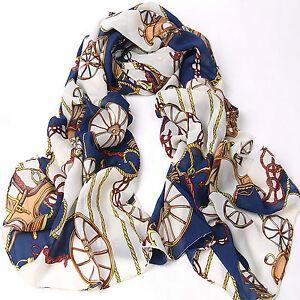 Ladies Vintage Soft Blue Wheel Carriage Chain Chiffon Silk Scarfs/Shawl wrap
