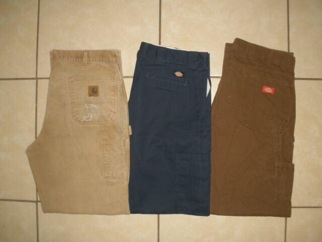 Lot of 3 CARHARTT B111 DICKIES Duck Canvas Flannel Lined Work Pants 38 x 34