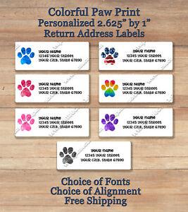 30 Custom Rainbow Paw Circle Personalized Address Labels