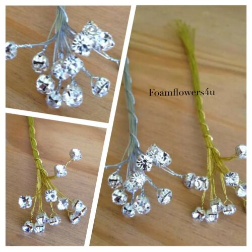 12 Diamante Bling tallo Spray Pick 5mm Oro Plata Ramo invitación de boda