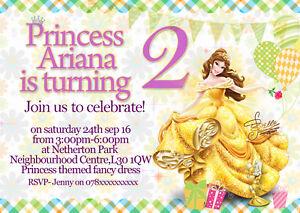 personalised birthday party invitations disney princess belle x8