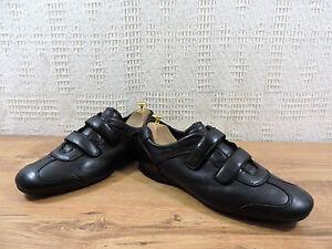 Prada-Nero-da-Uomo-pelle-Fibbia-Cinturino-Scarpe-Sportive-Sneaker-UK-9-USA-10-Eu