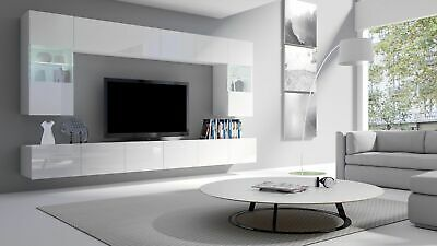 Modern White Living Room 6 Pcs Furniture Set Fronts In High Gloss