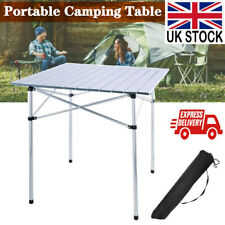 Folding Aluminium Roll Up Table Camping Outdoor Indoor Picnic W// Portable Bag UK
