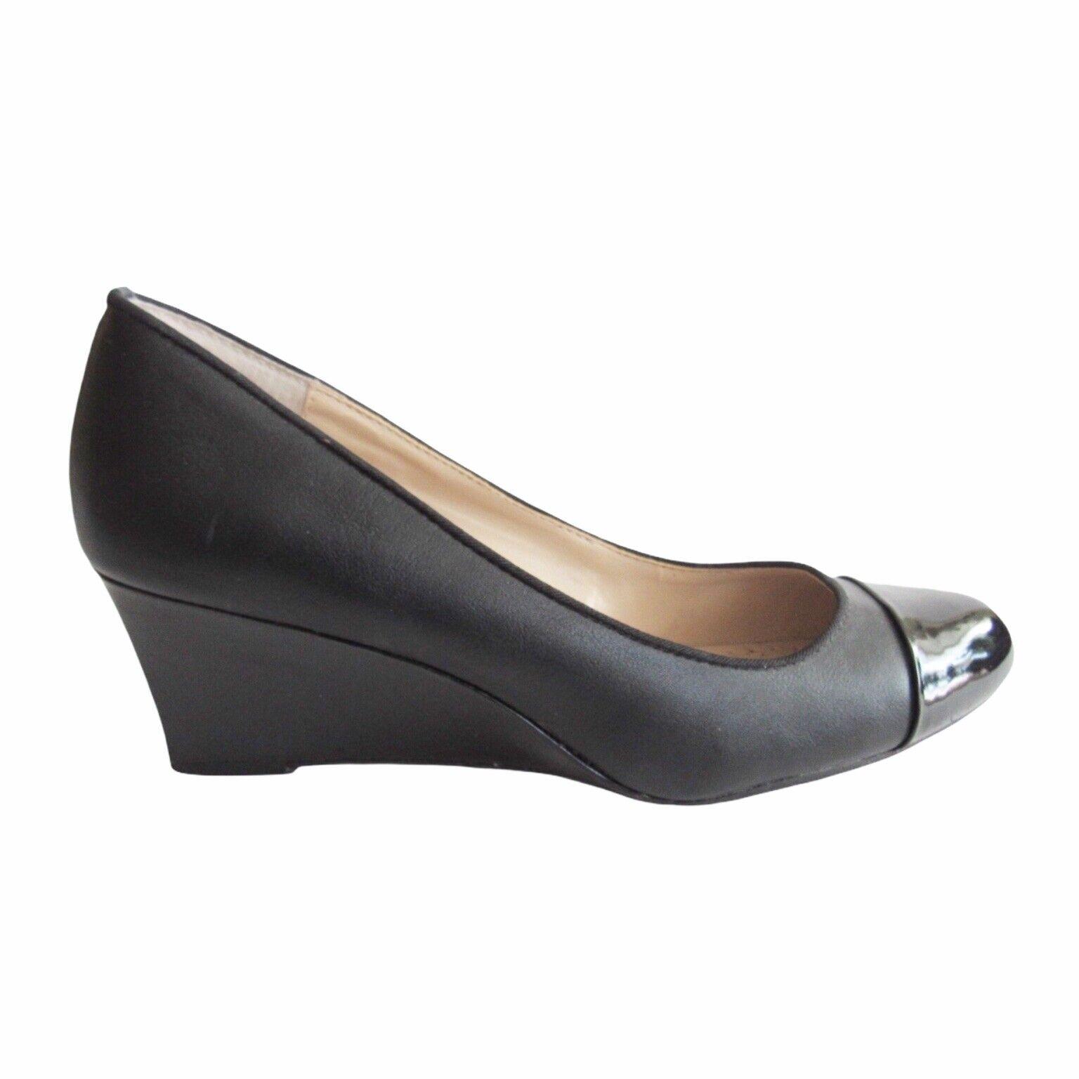 Adrienne Vittadini Wedge Heels 8 Black Patent Cap Toe Faux Leather Career Office