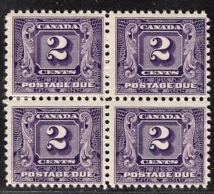 CANADA 1930/2 POSTAGE DUE STAMP Sc. # J 7 MNH/MH BLOCK OF FOUR