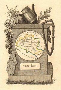 Scarce Antique Map/carte By A.m Perrot 1823 'arriège' Reasonable AriÈge Département