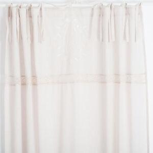 Details zu Elvira Zement Weiss bestickt 2x(145x250cm) Gardinen Vorhänge  Shabby Chic Vintage