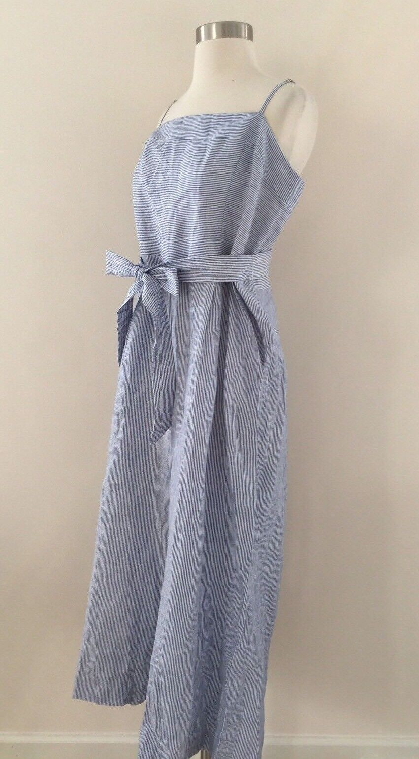 New JCREW Striped Linen Jumpsuit With Tie Size 12 bluee White Stripes G5964