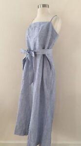 fa8a4342135c New JCREW Striped Linen Jumpsuit With Tie Size 12 Blue White Stripes ...
