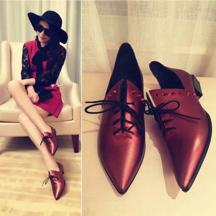 18 Fashion Womens Retro Lace Up Pointy Toe Leather Low Heel Brogue shoes Punk 8