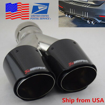 1X 101mm Car Glossy Real Carbon Fiber Exhaust Muffler Pipe Tip Cover Tail Throat