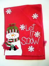 RED FLEECE WHITE SNOWMAN LET IT SNOW CHRISTMAS TABLE RUNNER HOLIDAY DECORATION