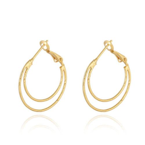 NOUVEAU 18K Blanc//jaune plaqué or rond double BOUCLES CERCLES Hoop CALIN Boucles d/'oreilles