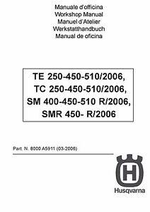 husqvarna smr 450 r service repair workshop manual 2007