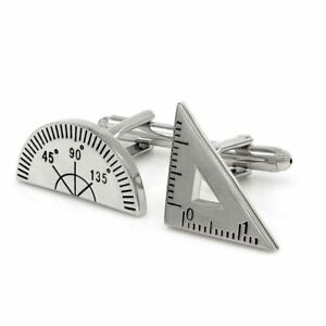 Maths-Protractor-Ruler-Teacher-School-Cufflinks-Novelty-Fun-Birthday-Gift-UK