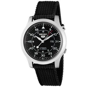 SEIKO-5-MILITARY-BLACK-DIAL-AUTOMATIC-WATCH-BLACK-CANVAS-STRAP-SNK809K2-ES-3