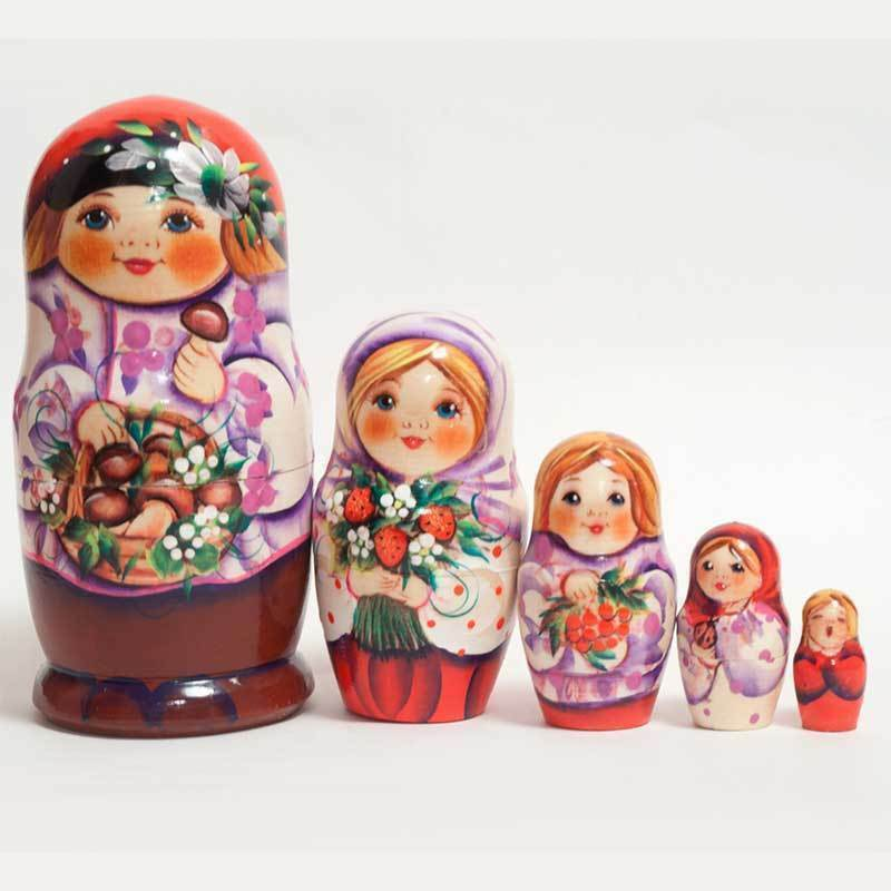 Nesting dolls for kids - Little Russian Boy with Mushrooms - matryoshka - 278p