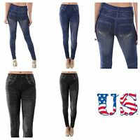 Women Jeans Skinny Leggings Blue Black Denim Jeggings  Long Pants One Size New
