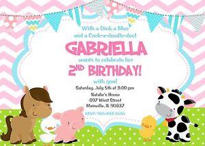 Farm girl pink animal petting zoo birthday party invitation ebay image is loading farm girl pink animal petting zoo birthday party filmwisefo