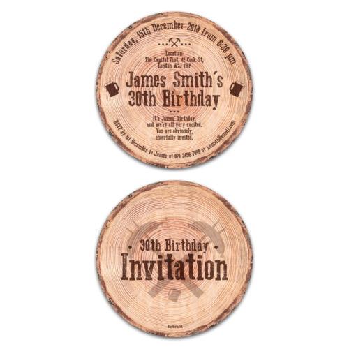 Round anniversaire cartes d/'invitation Cercle 148 mm-Bois Tranche Disque d/'Arbre écorce Look