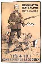 WW1 RECRUITING POSTER BRITISH ARMY KENSINGTON BATTALION LONDON NEW A4 PRINT