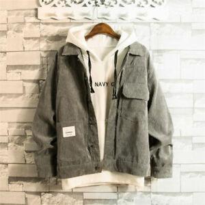 Men-Vintage-Corduroy-Coat-Jacket-Baggy-Pocket-Top-Casual-Outerwear-gray-XXS