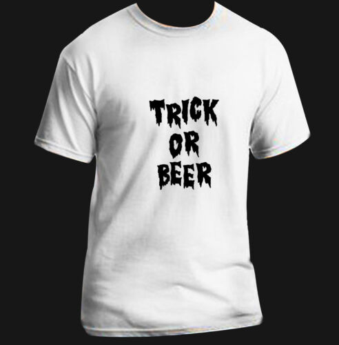 Halloween Costume Spooky Adult T-Shirt Black White S-XL Trick or Beer