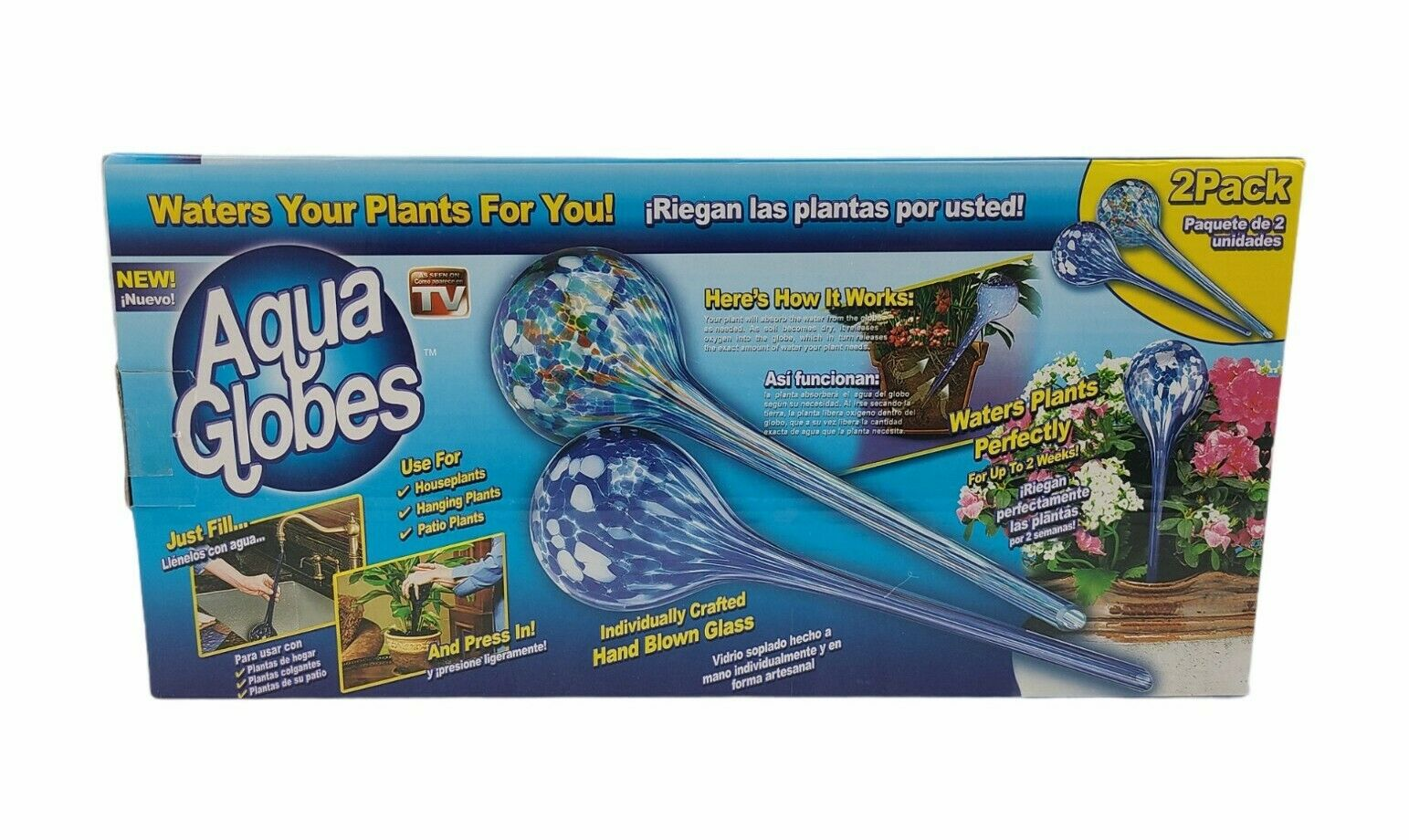 Aqua Watering Globes Plant Watering Glass, Plant Watering Globe 2 Pack Large