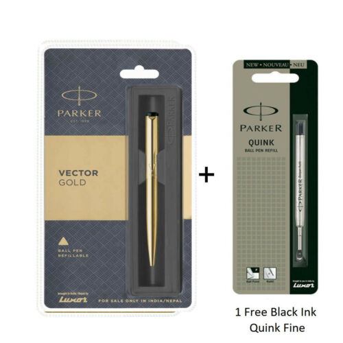 Parker Vector Gold GT Ball Pen Gold Body Ball Point Pen Black Ink Blue Ink