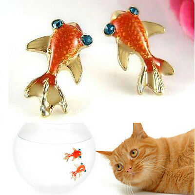 Chic Charming Gold Plated Alloy Blue Rhinestone Eye Gold Fish Ear Stud Earrings