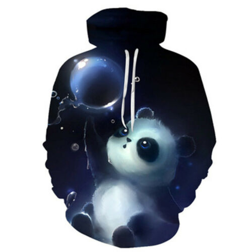 Cute Panda 3D Print Hoodie Long Sleeve Sport Sweater Pullover Coat Outwear S-3XL