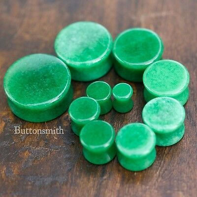 """Pair of Green Jade Organic Stone Plugs / gauges Double Flared - 8g - 1"""" 13 sizes"""