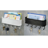 Letter Rack Organizer Key Holder Hook Wall Mount Basket Bill Box Black White