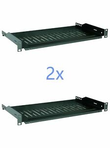 2x-19-034-1U-12-034-300mm-Deep-Cantilever-Server-Shelf-Vented-Shelves-Rack-Mount